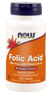 NOW Foods Folic Acid - Kwas foliowy 800 mcg (250 tab)