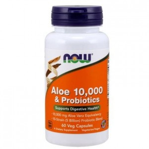 NOW Foods Aloe 10,000 & ZProbiotyki (60 kap)