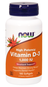 NOW Foods Witamina D3 1000 (180 kap)