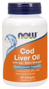 NOW Foods Cod Liver Oil – Tran 1000mg (90 kap)