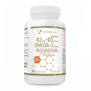 Progress Labs Witamina  K2 MK-7 + D3 50mcg 2000IU+ OMEGA-3 Vit E (90 Kap)